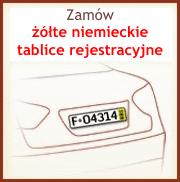 Kliknij aby zdobyć tymczasowe żółte niemieckie tablice rejestracyjne