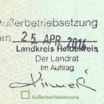 Wyrejestrowanie pojazdu w Niemczech - pieczątka