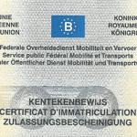 Nagłówek unijnego belgijskiego dowodu rejestracyjnego