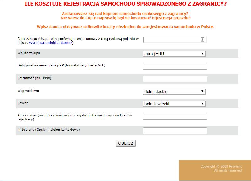 """Kliknij aby wypełnić formularz """"Ile kosztuje rejestracja samochodu sprowadzonego z zagranicy?"""""""